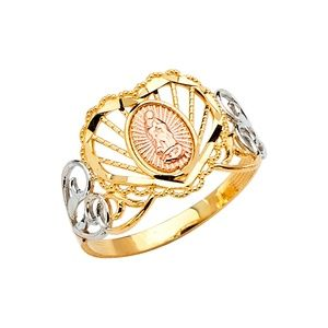 14K Yellow White Rose Gold Guadalupe Ring